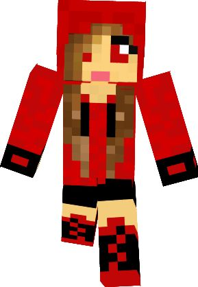 Minecraft Skins Girl Hoodie Cute In Red Clipart.