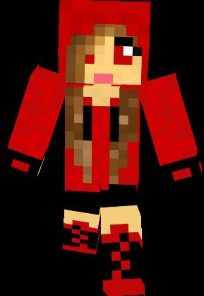 Minecraft Skins Girl Hoodie Cute In Red Clipart.