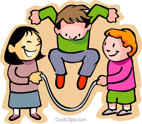 little boy with girls skipping rope Royalty Free Vector Clip Art.