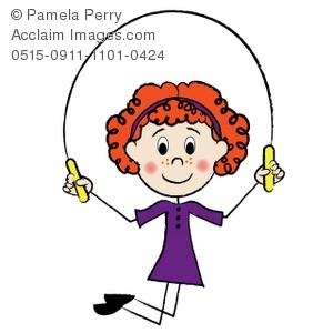 Clip Art Illustration of a Red Haired Stick Girl Skipping Rope.