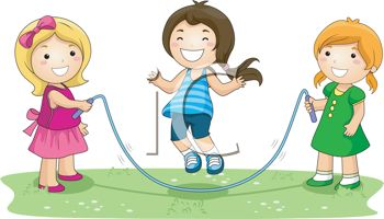 Royalty Free Clipart Image: Girls Playing Jump Rope.