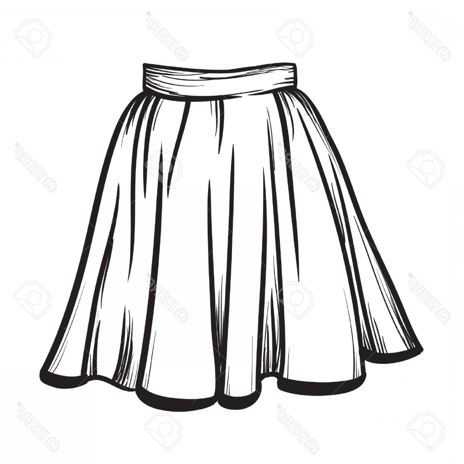 Photostock Vector Stylish Skirt Model Hand Drawn Vector.