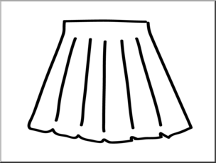 Clip Art: Basic Words: Skirt B&W Unlabeled I abcteach.com.