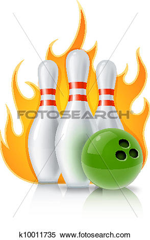 Clipart of skittles and ball for bowling game k10011735.