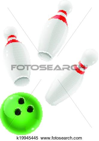 Clipart of Skittles and ball for playing the bowling game.
