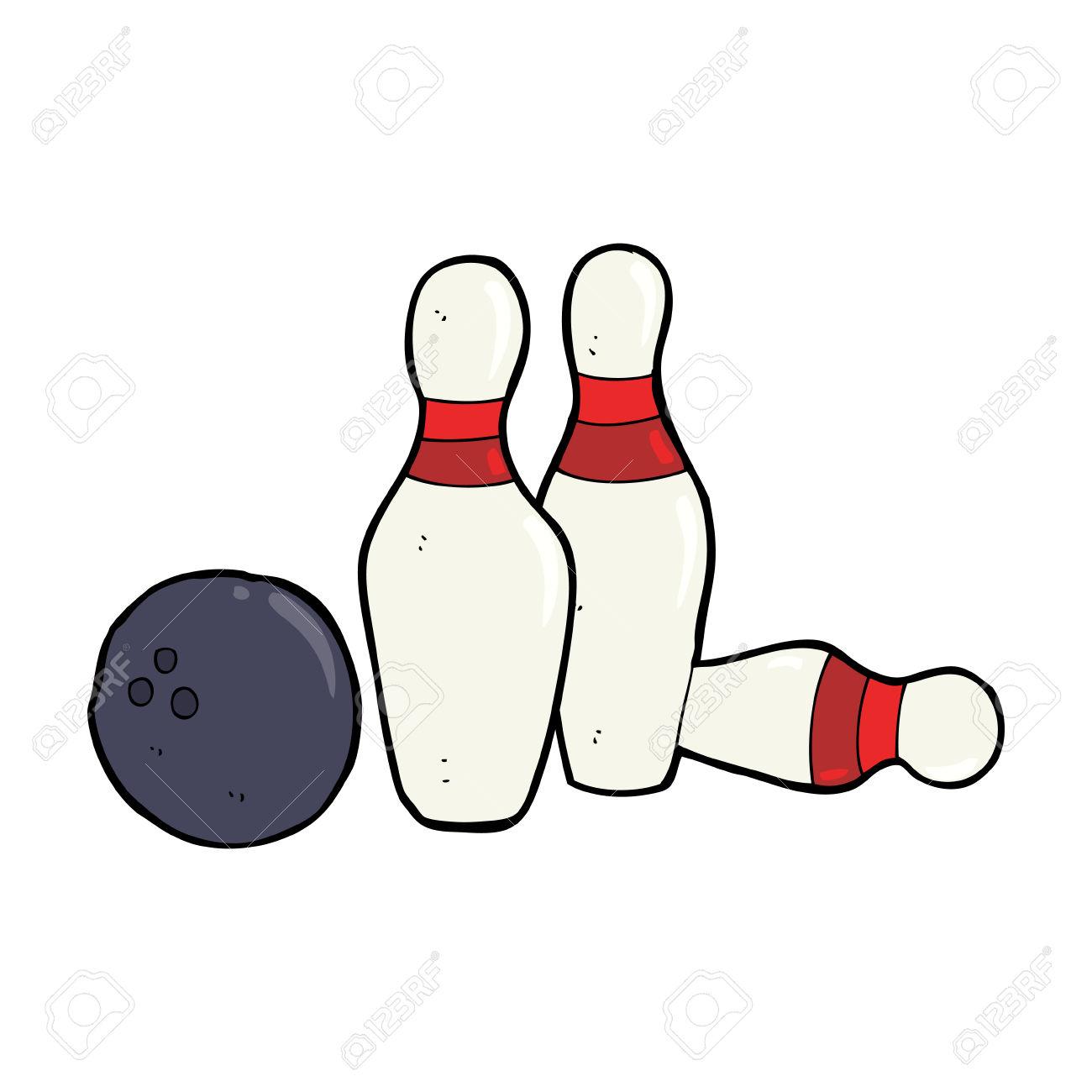 Cartoon Bowling Ball And Skittles Royalty Free Cliparts, Vectors.
