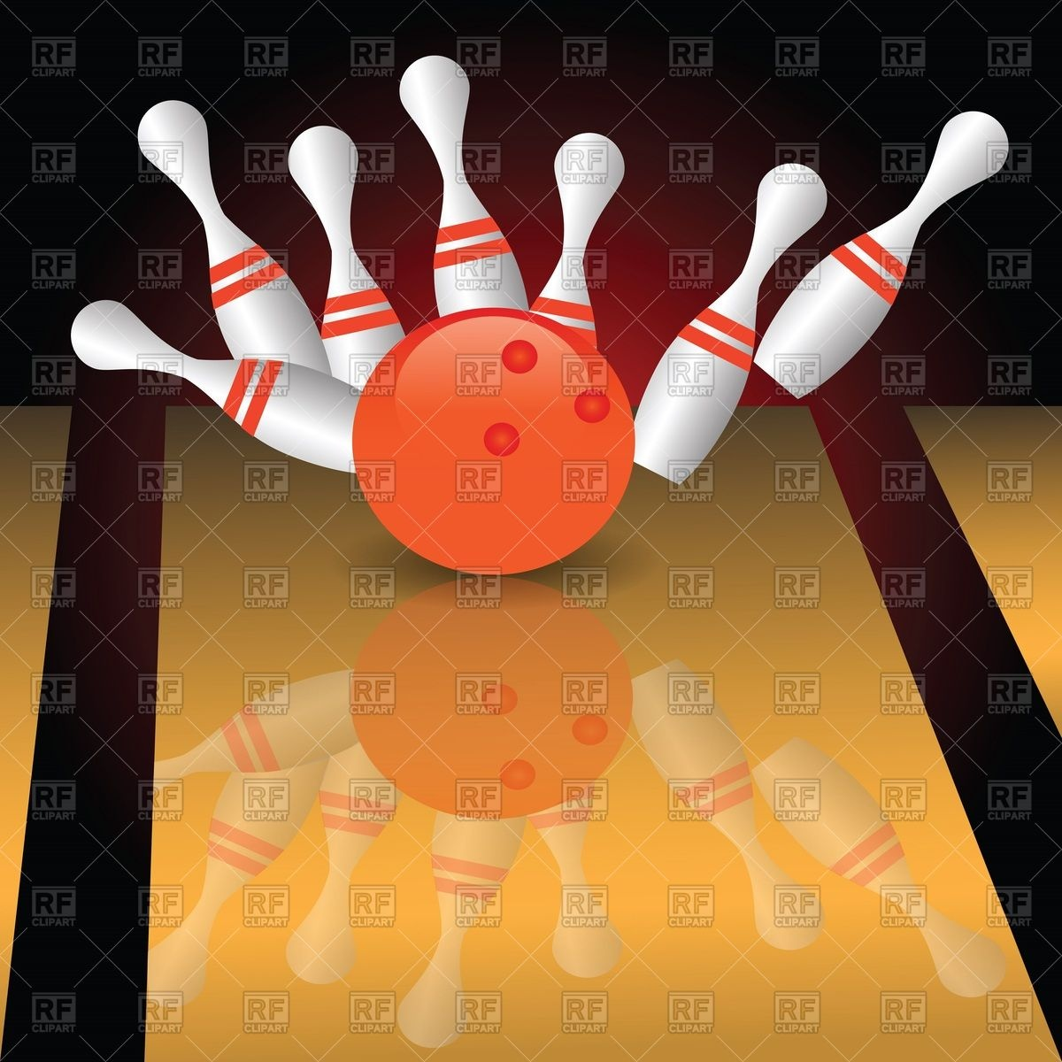 Skittles and black bowling ball Vector Image #7684.