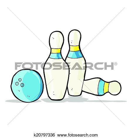Clip Art of cartoon bowling ball and skittles k20797336.