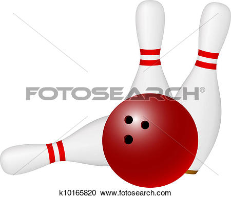 Clipart of Bowling ball and skittles k10165820.