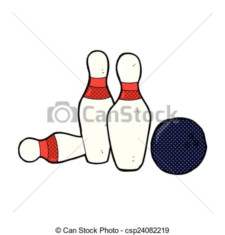 Vector Clip Art of comic cartoon bowling ball and skittles.