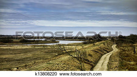 Stock Photography of Meadows near Skjern, Denmark k13808220.
