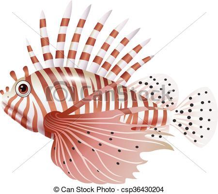 Vector Clipart of Cartoon scorpion fish isolated.