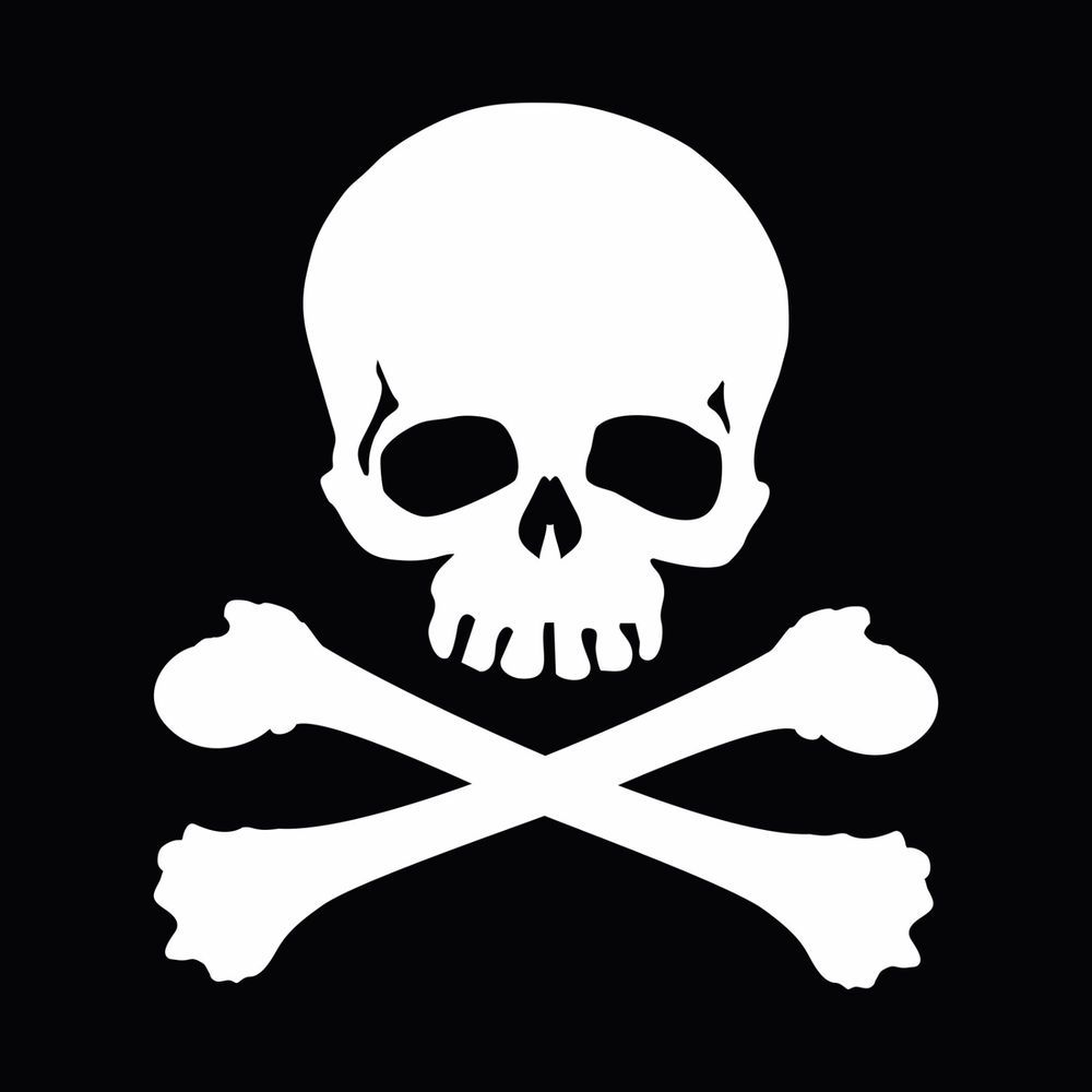 Jolly Roger Skull Crossbones Car Body Window Bumper Vinyl.