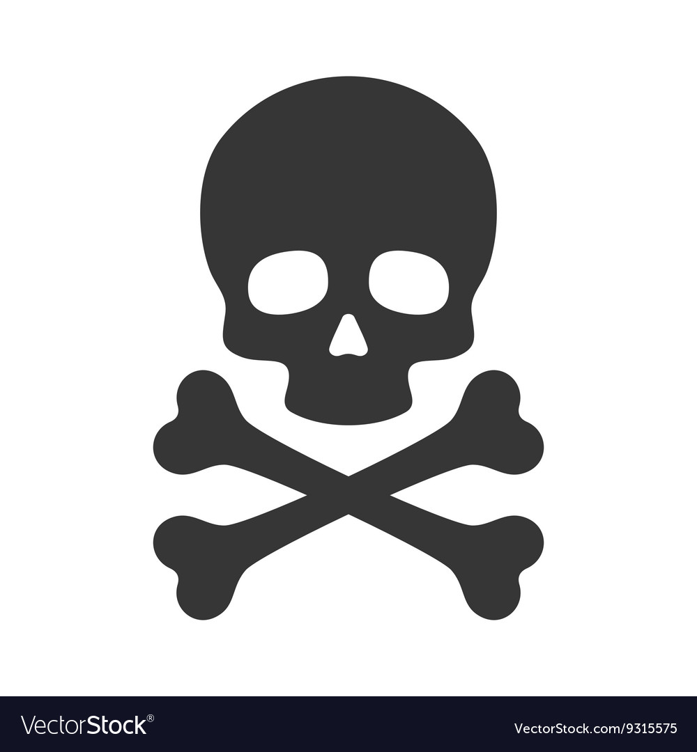 Skull and Crossbones Icon on White Background.