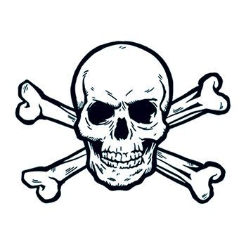Skull and Crossbones Temporary Tattoo.