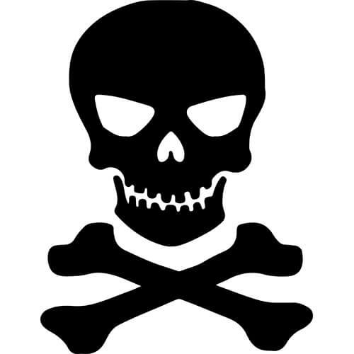 Skull Crossbones Decal Sticker.