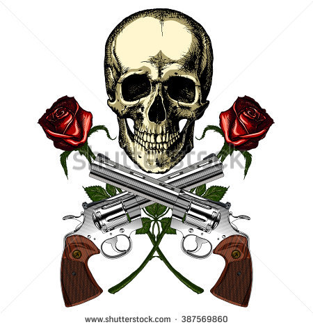 Guns And Roses Stock Images, Royalty.