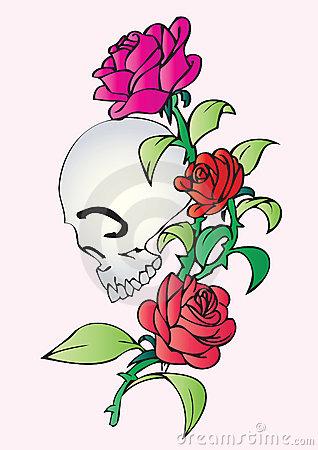 Skull And Roses Tattoo Stock Photo.
