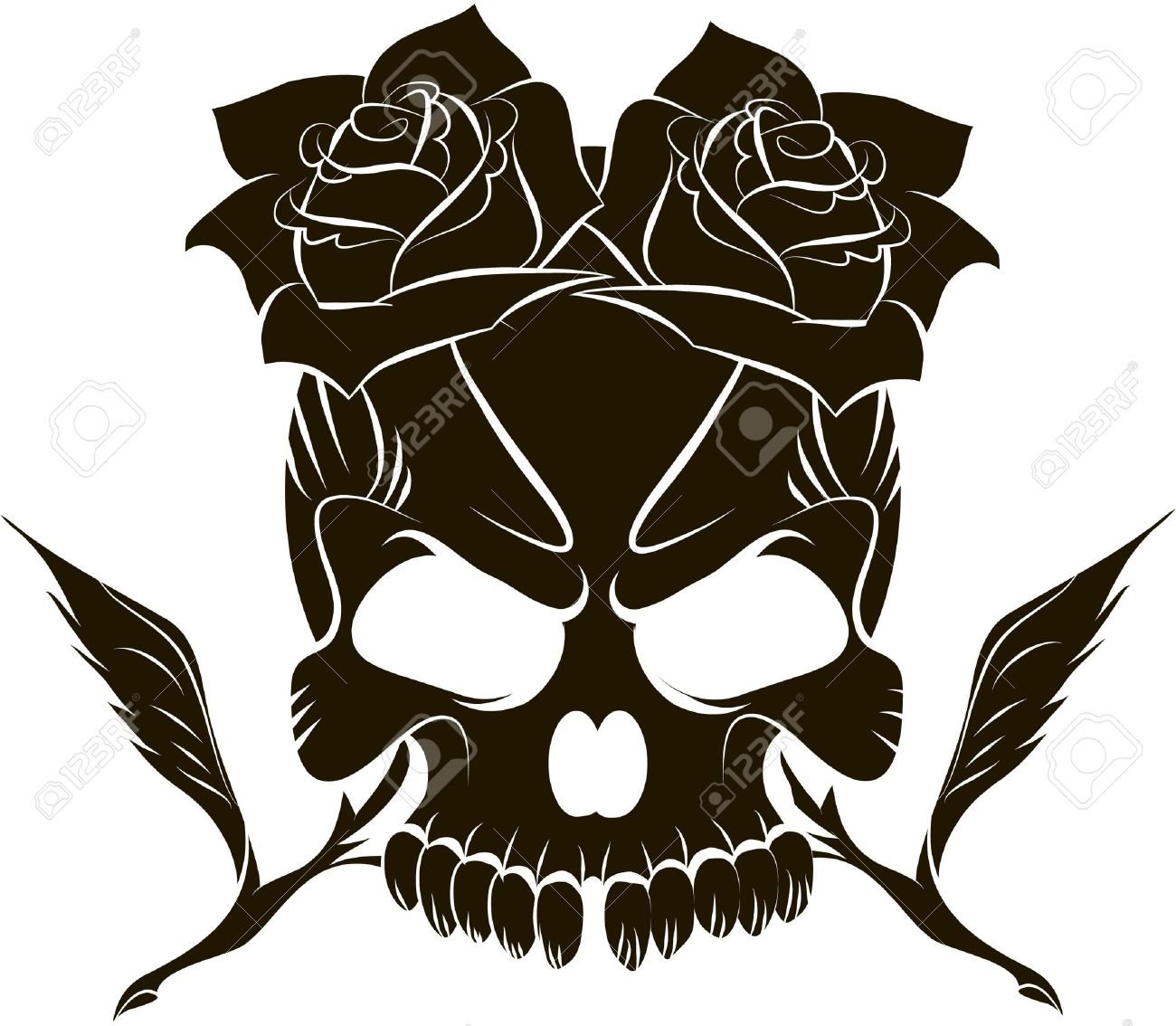 Pirate Skull And Two Roses Royalty Free Cliparts, Vectors, And.