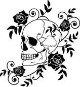 Clipart of skull and roses k6189922.