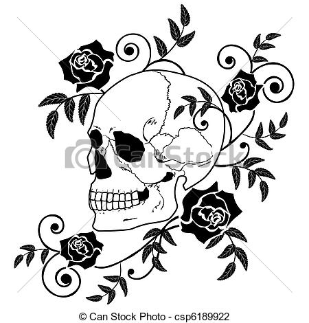 Skull And Roses Clipart.
