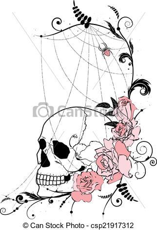Vector Clip Art of skull and roses.