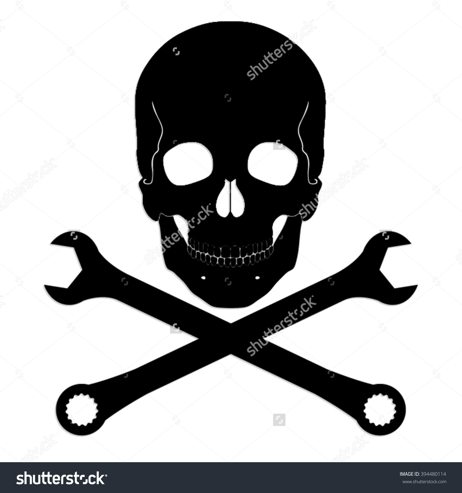 Silhouette Skull Crossed Wrench Vector Symbol Stock Vector.