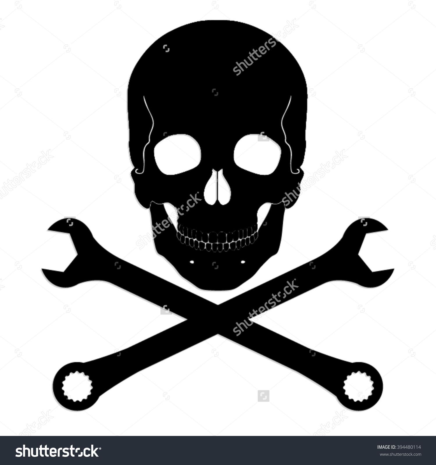 Silhouette Skull Crossed Wrench Vector Symbol Stock Vector.