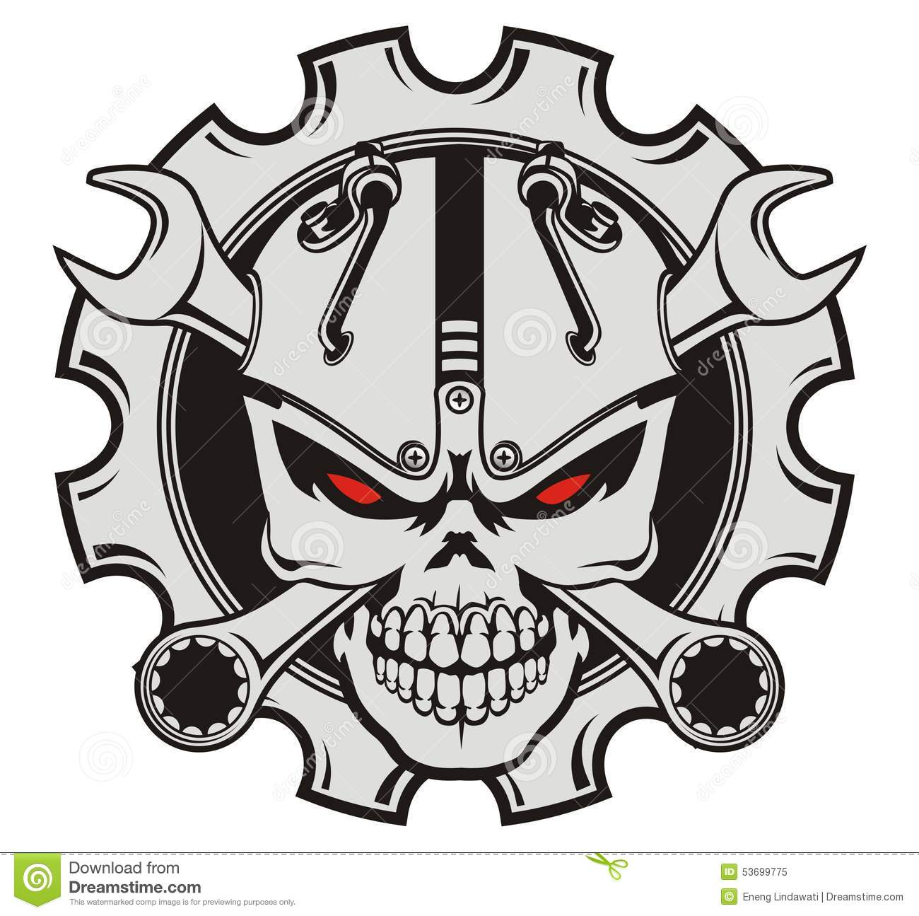 Skull Machine And Wrench Stock Illustration.