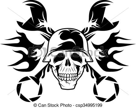 EPS Vectors of bikers theme emblem with skull,flames and wrenches.