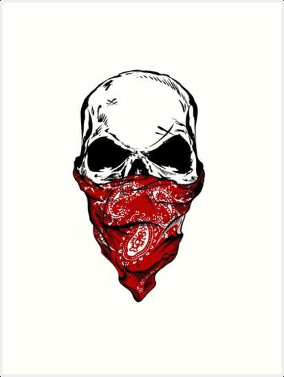\'Skull Bandana\' Art Print by KingJames27x.