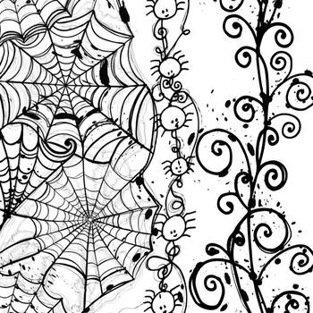Halloween Border ClipArt, Spider Web Illustration, Skull and Crossbone,  Pumpkins.