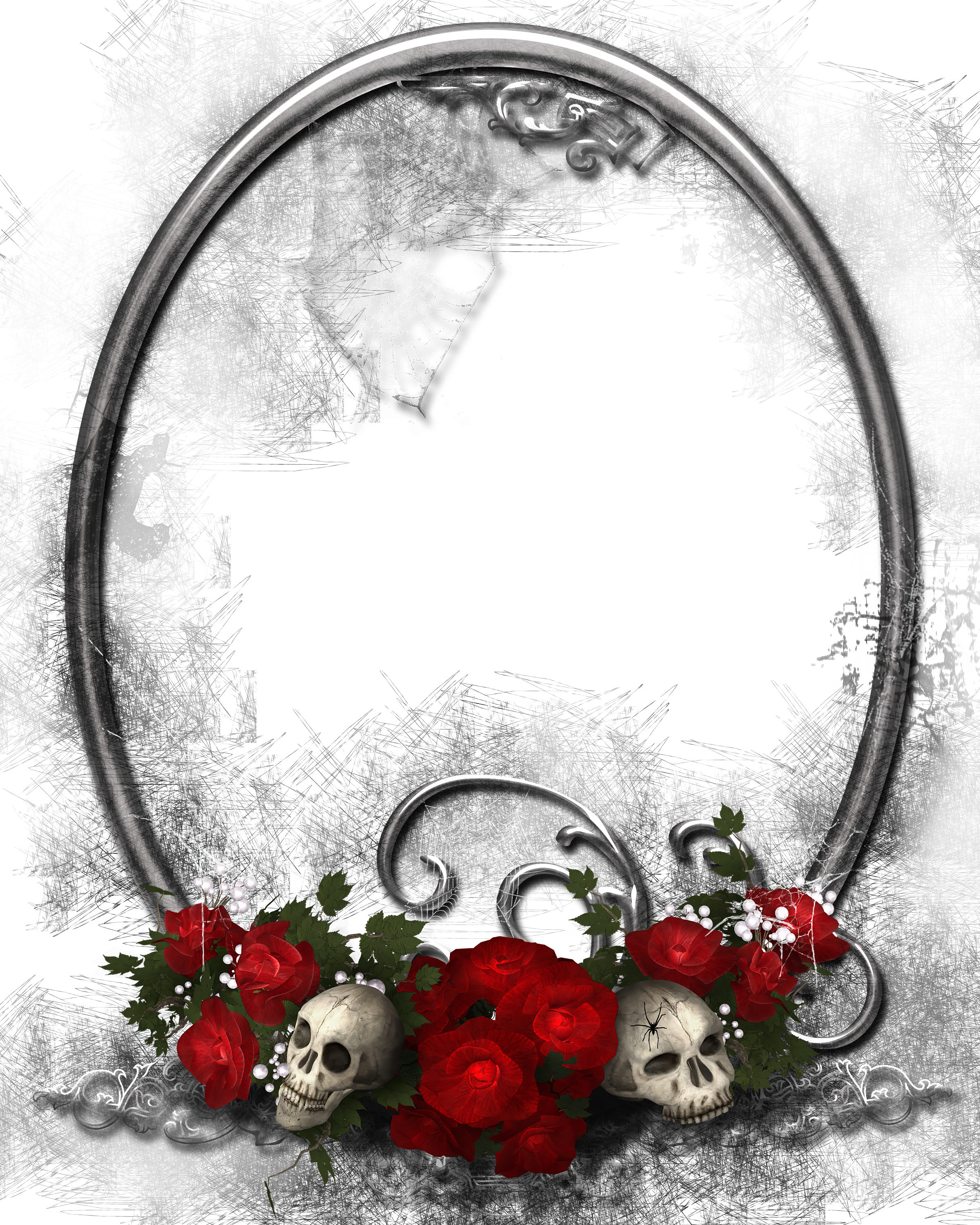 Halloween Transparent PNG Frame with Skulls and Roses.