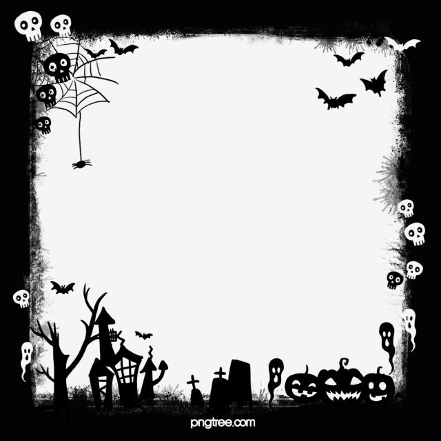 Halloween Ghost Skull Pumpkin Black Border, Halloween, Hand.