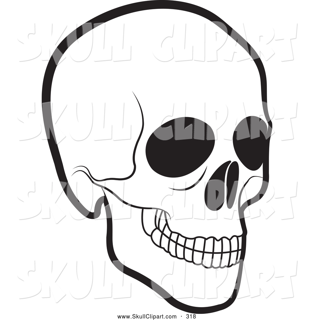 Vector Clip Art of a Scary Black and White Human Skull by.