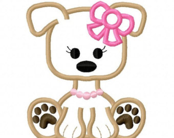 Puppy clipart for embroidery digitizing.