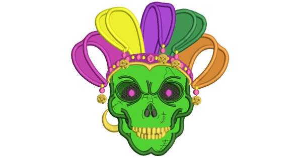 Mardi Gras Skull Applique Machine Embroidery Design Digitized Pattern.