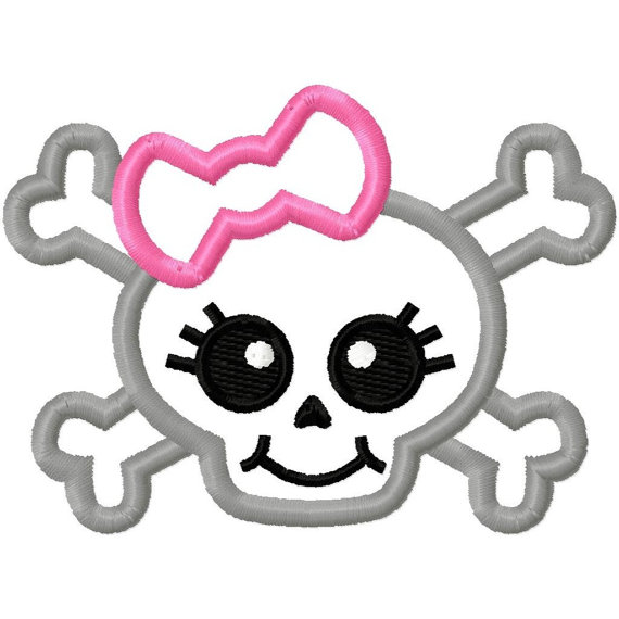 Digitizing Dolls Girly Bow Skull 2 Applique by DigitizingDolls.