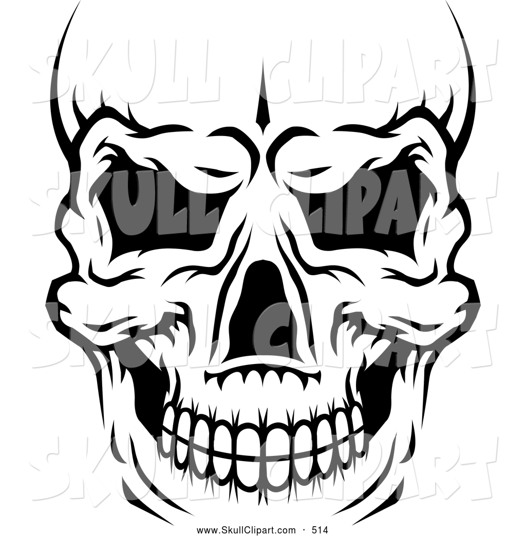 Vector Clip Art of a Creepy Black and White Human Skull Close up.
