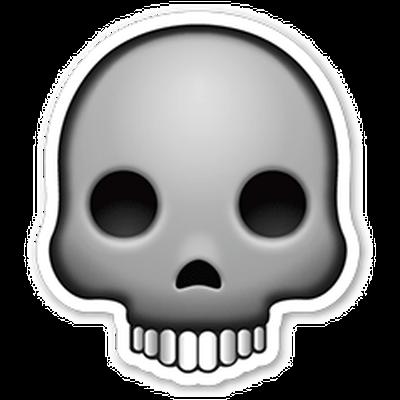 Skull Emoji Sticker transparent PNG.
