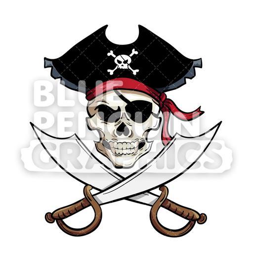 Pirate Skull Head Vector Cartoon Clipart Illustration.