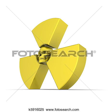 Stock Illustration of Yellow Nuclear Symbol with Skull k5916025.