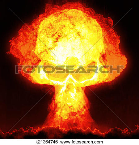 Stock Illustration of nuclear bomb with skull k21364746.