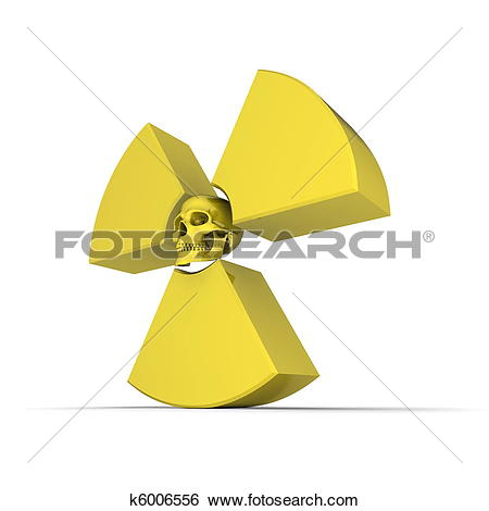 Stock Illustration of Yellow Nuclear Symbol with Skull k6006556.