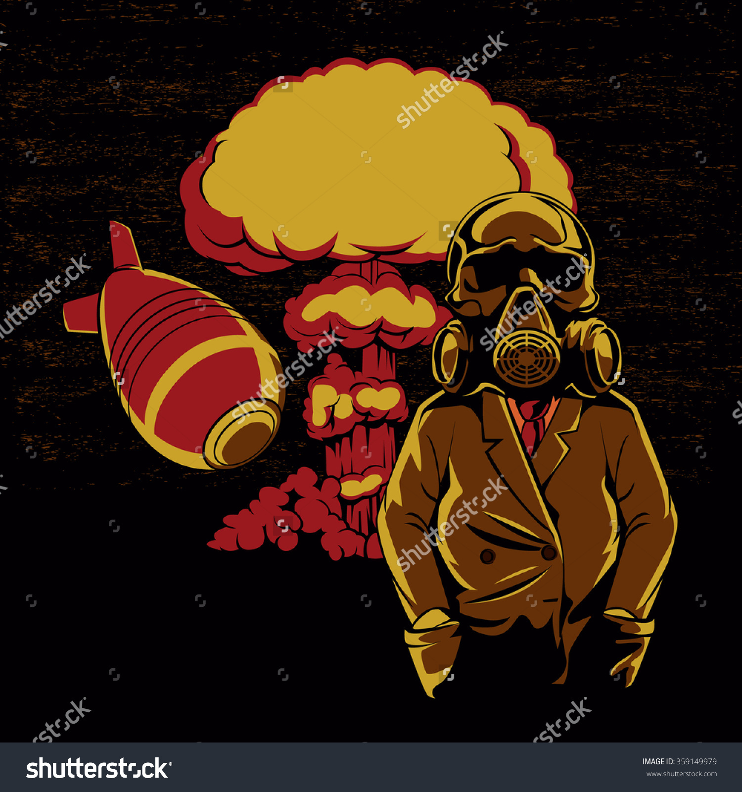Nuclear Explosion Skull Gas Mask Illustrationhydrogen Stock Vector.