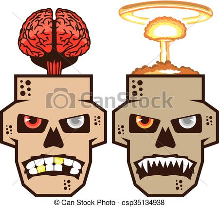 Vectors of Skull w brain n nuclear blast.