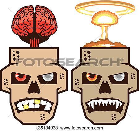 Clip Art of Skull w brain n nuclear blast k35134938.