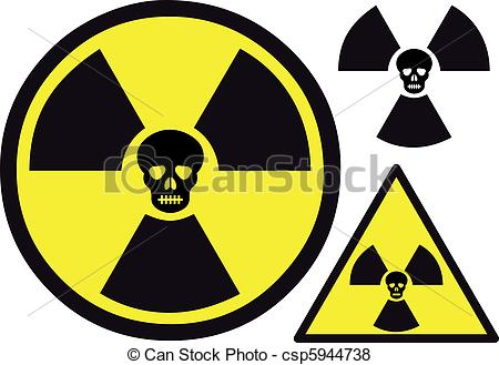 Vector of nuclear symbol with skull.
