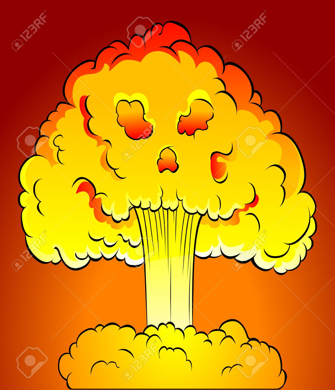 Nuclear Explosion With Skull Cloud. Vector Illustration Royalty.