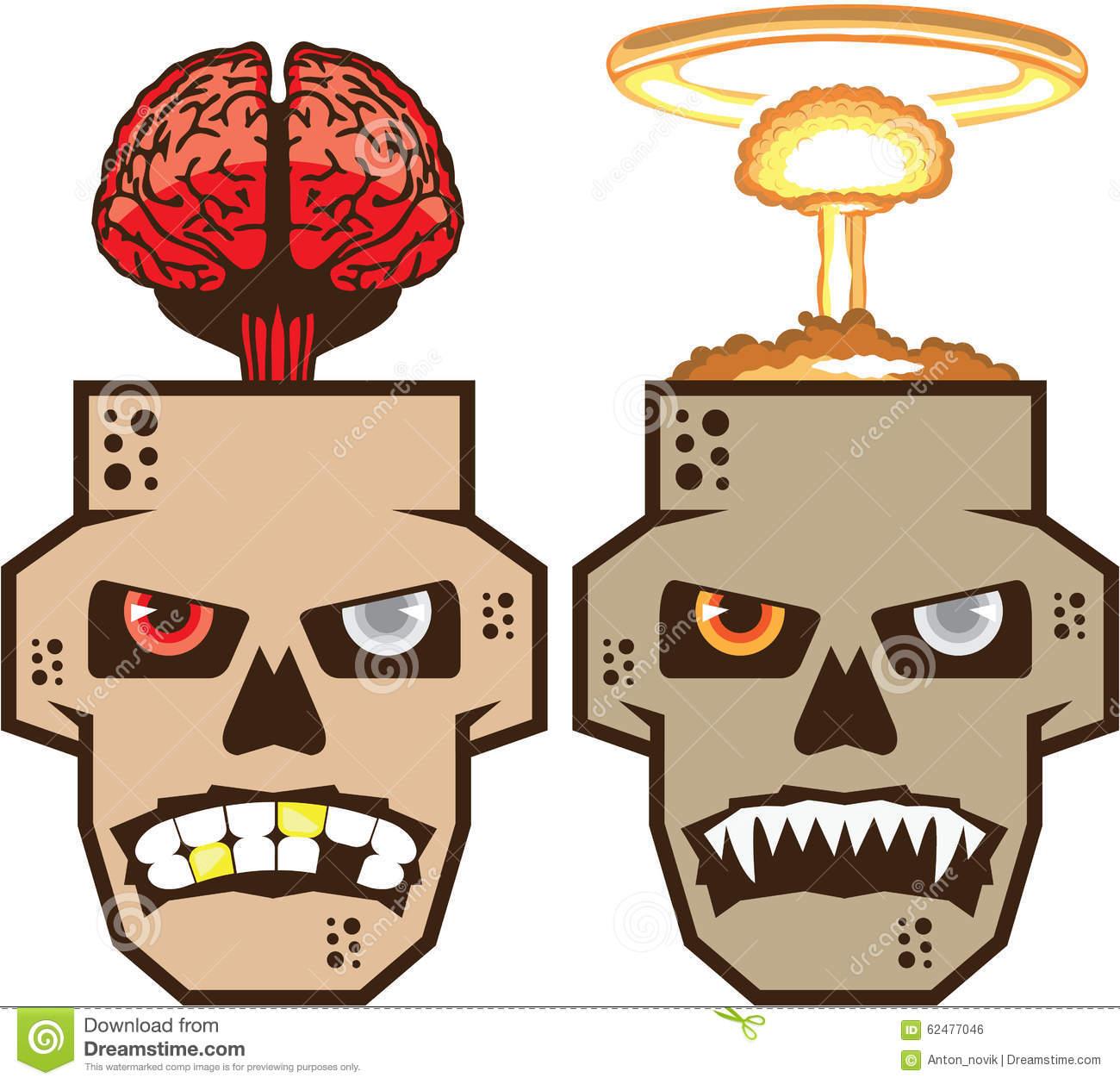 Skull W Brain N Nuclear Blast Vector Stock Vector.